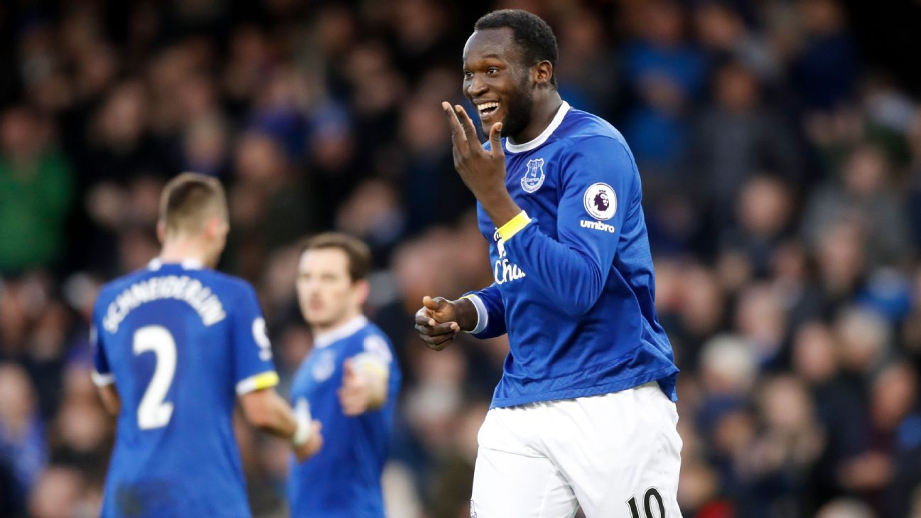 Romelu Lukaku celebrates after completing his hat trick.