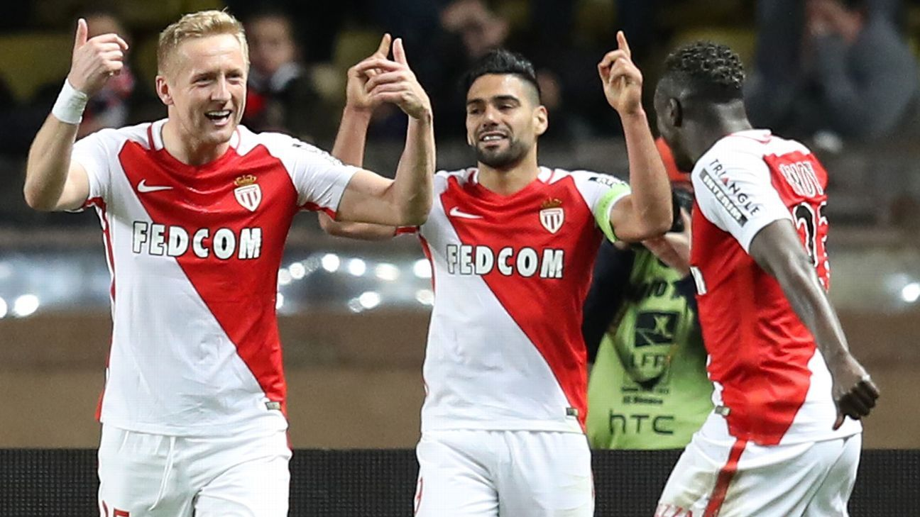 Monaco celebrate after Radamel Falcao found the back of the net.