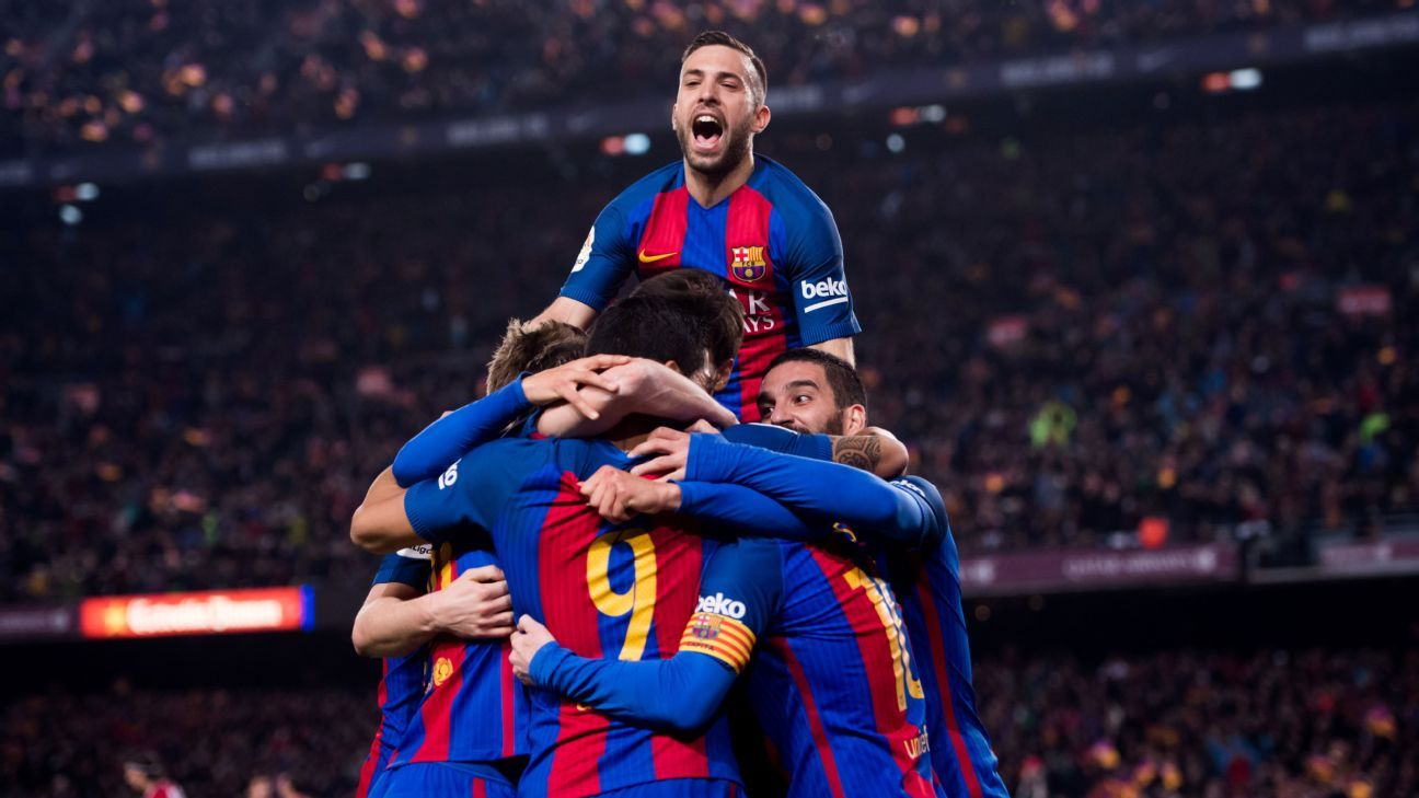 Barcelona celebrate after Luis Suarez's opening goal on Tuesday.