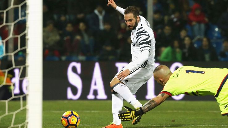 Gonzalo Higuain scores a goal against Crotone in a 2-0 win in Serie A.
