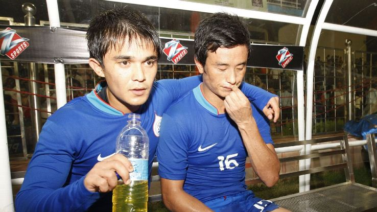Sunil Chetri and Bhaichung Bhutia on the bench during the match against Kyrgyzstan during the 2009 Nehru Cup. Bhutia and Chhetri both scored in India's 2-1 win.