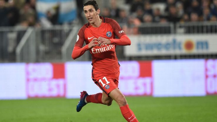 Angel Di Maria celebrates after scoring a goal for PSG in a victory against Bordeaux.