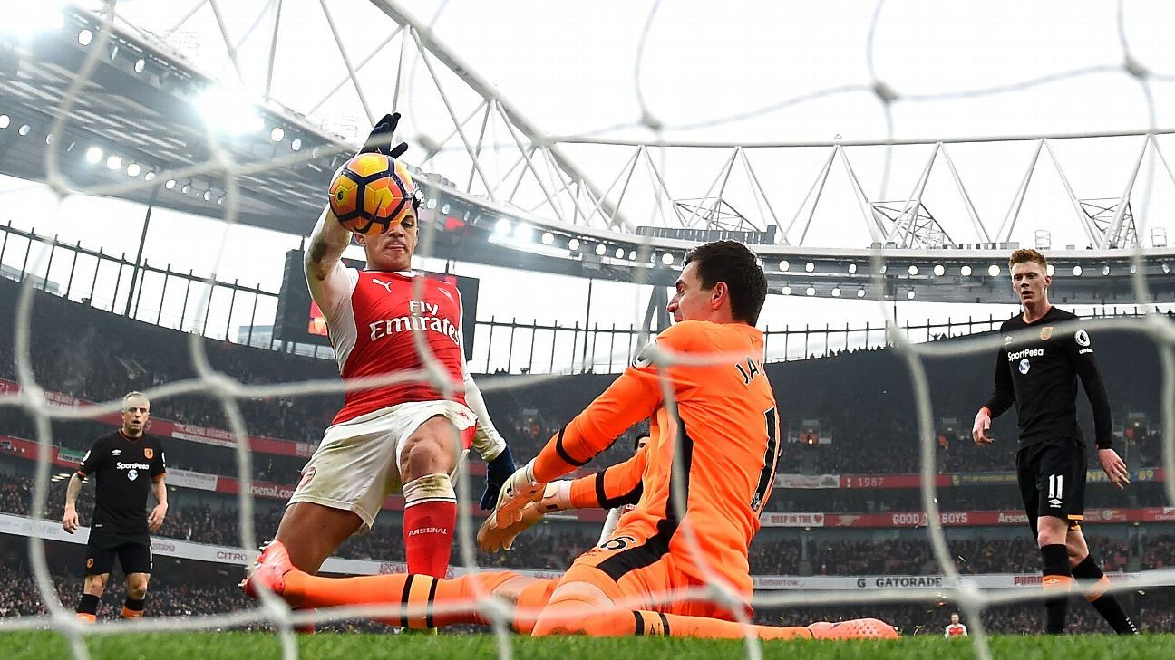 Alexis Sanchez's opening goal went in off his hand.