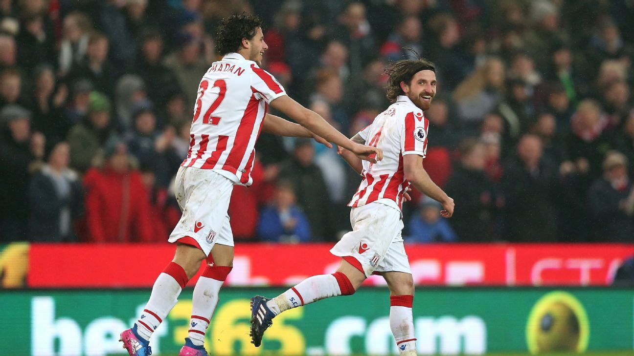 Joe Allen celebrates after scoring for Stoke on Saturday.