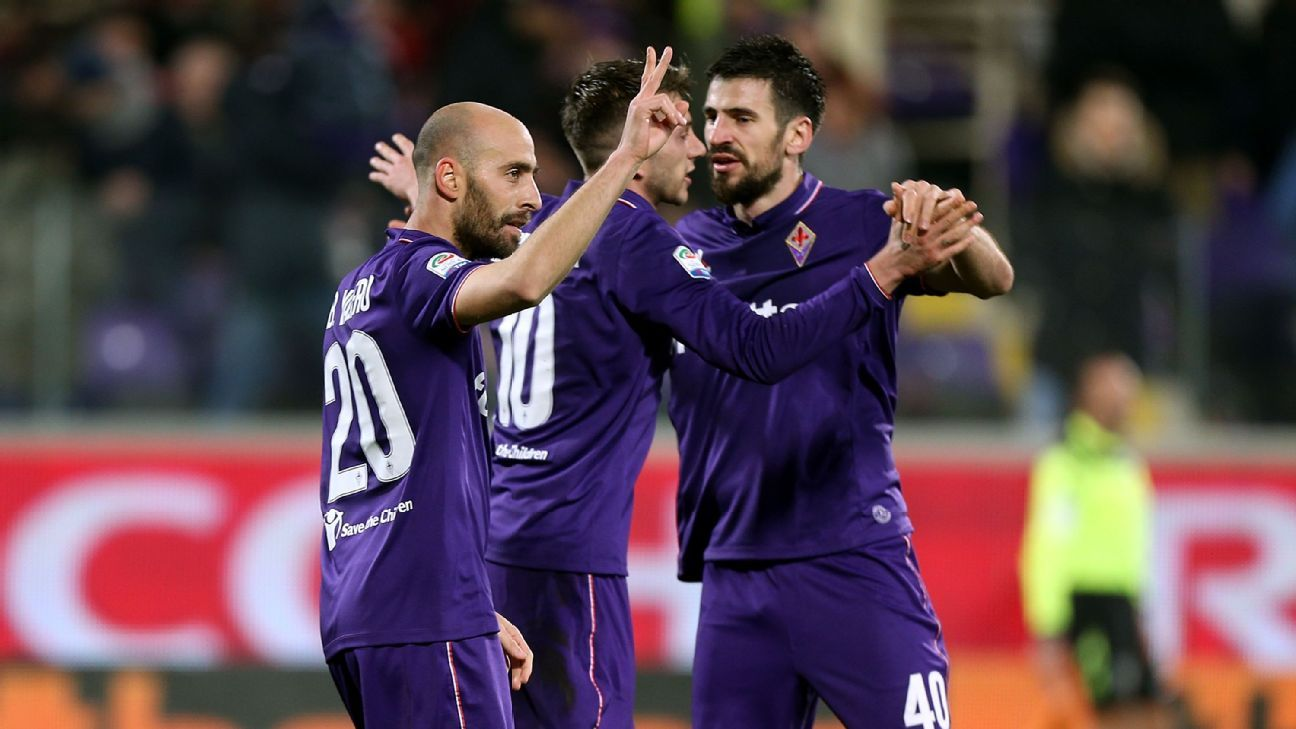 Borja Valero of Fiorentina celebrates after scoring a goal in his team's Serie A win against Udinese on Saturday.