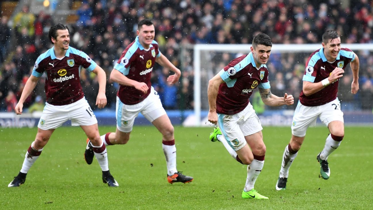 Robbie Brady celebrates after netting Burnley's equaliser.