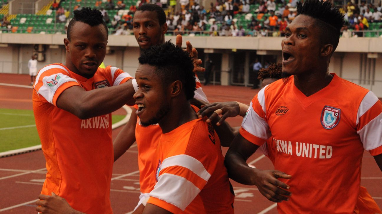 Akwa United celebrate a goal during their NPFL match.