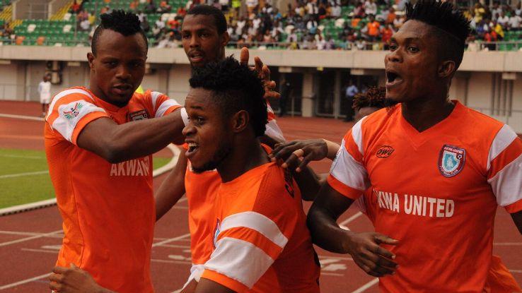 Akwa United celebrate a goal during their NPFL match.