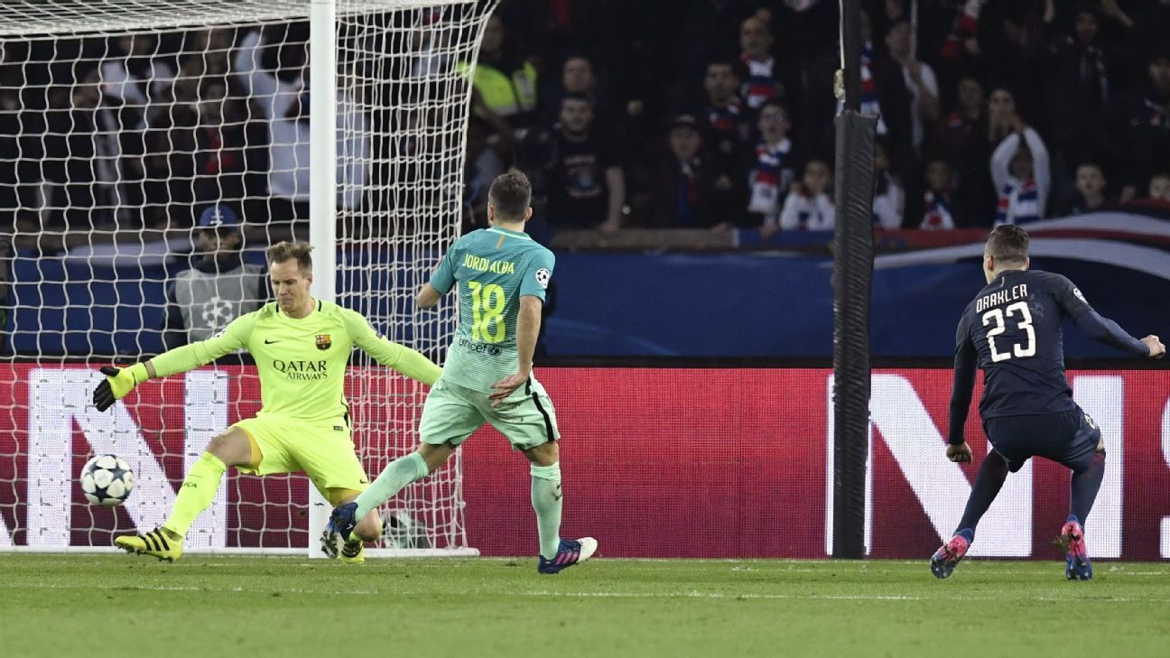 Having lost the first leg in paris, few had given barca a chance of reaching the last eight given no side had previously overturned such a deficit in the history of the competition.