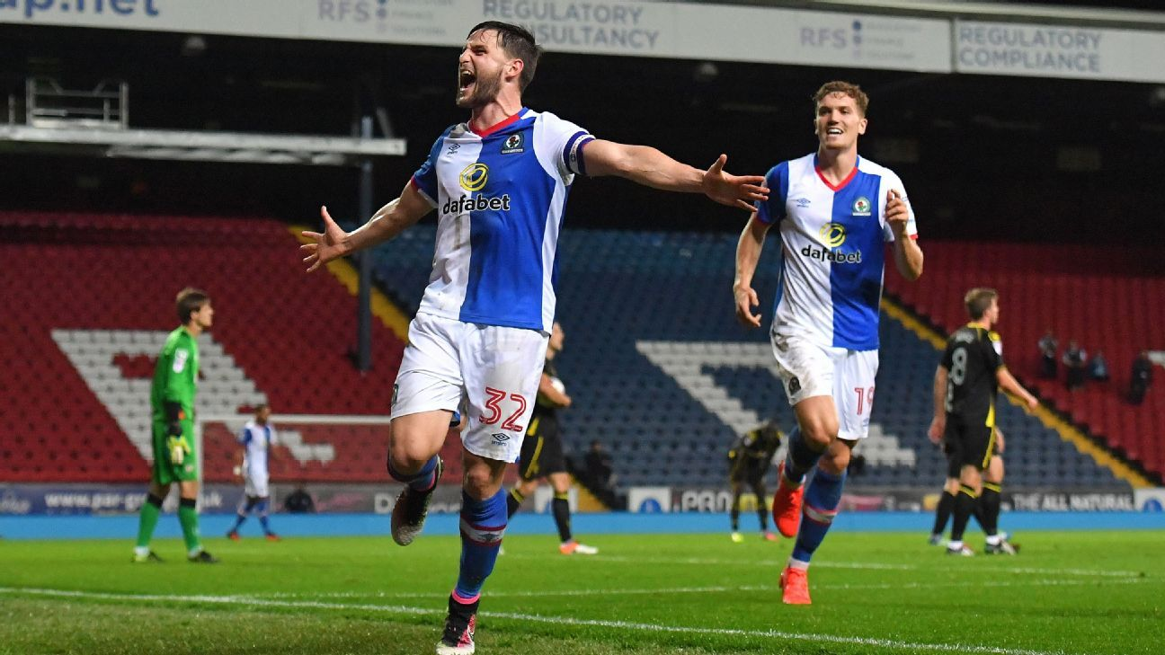 Blackburn Rovers' Craig Conway celebrates scoring his team's third goal