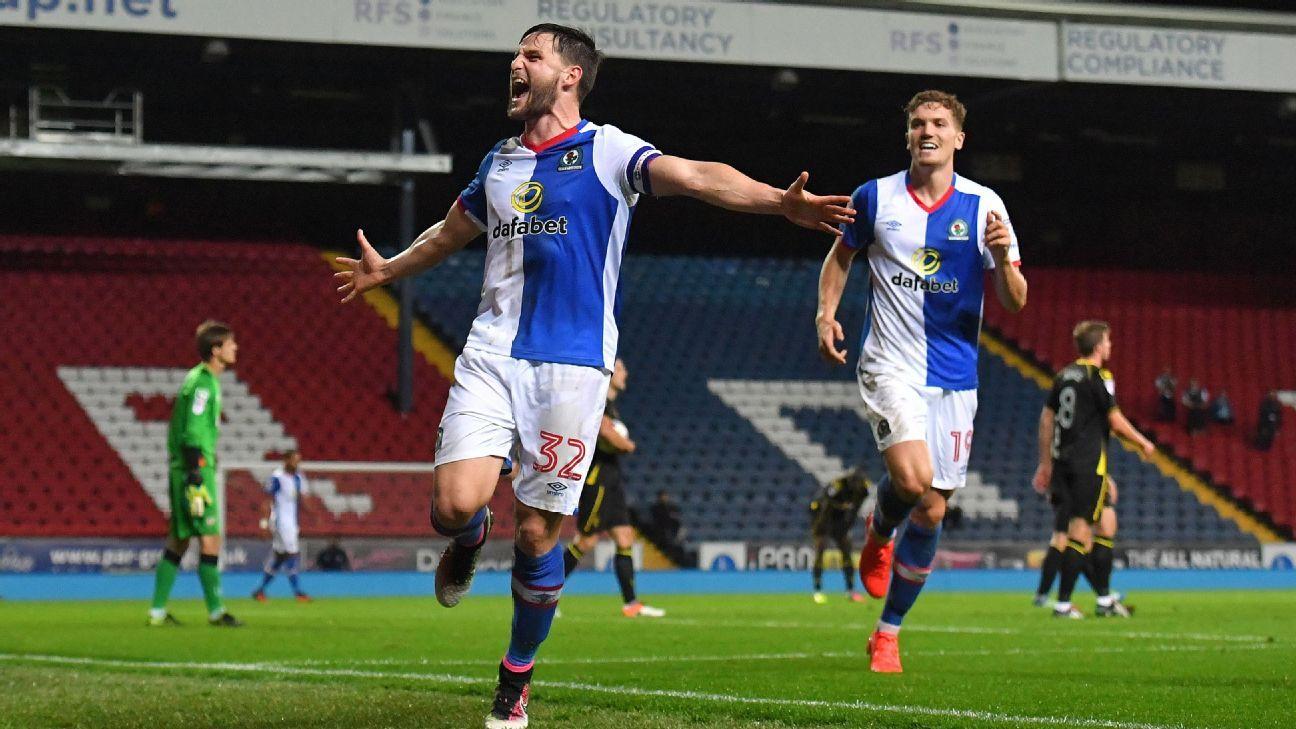 Blackburn Rovers' Craig Conway celebrates scoring his team's third goal