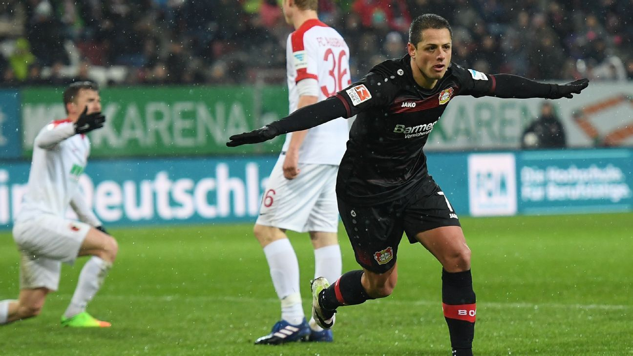 Javier Hernandez celebrates after scoring a goal for Bayer Leverkusen against Augsburg.