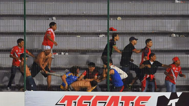 Fans of Veracruz fight against fans of Tigres