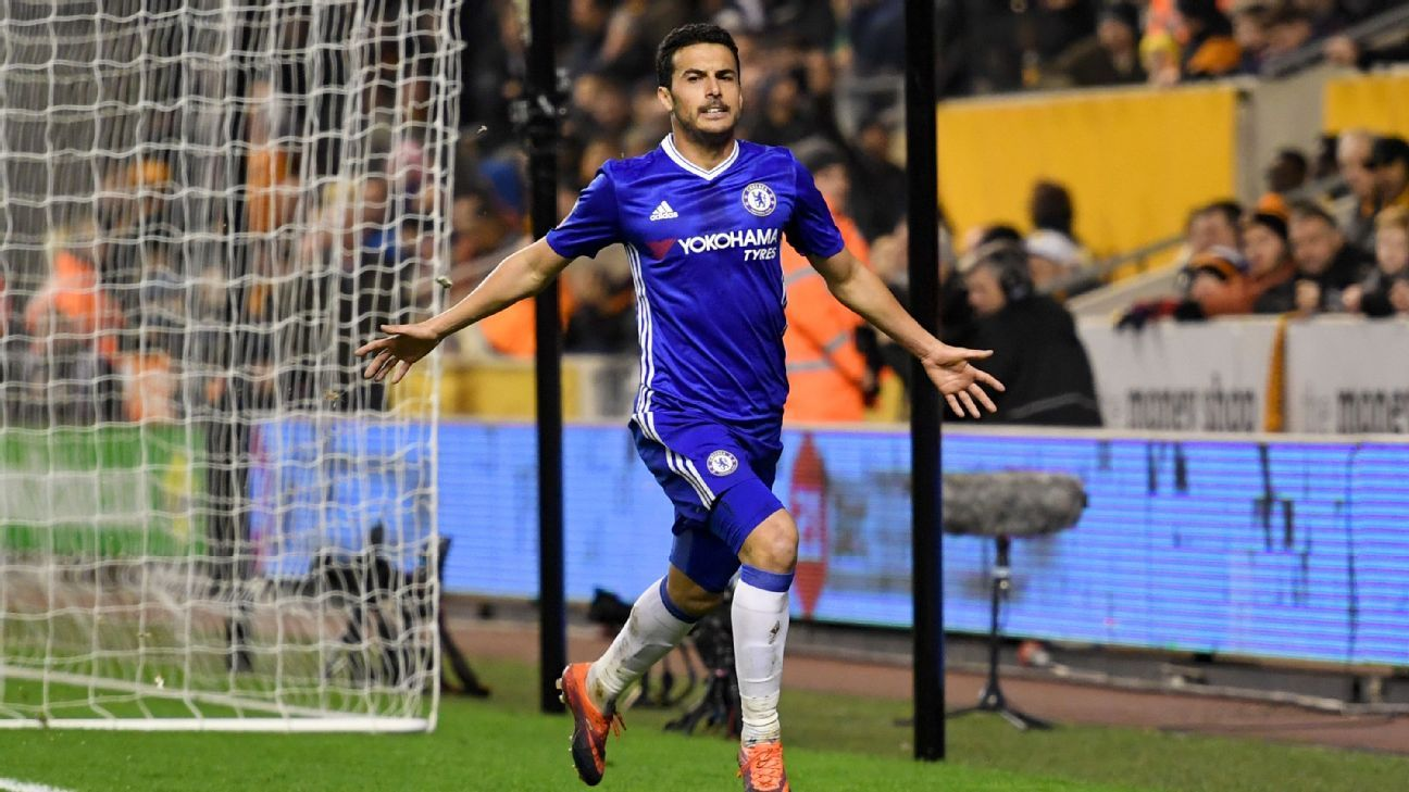 Pedro Rodriguez celebrates after breaking the deadlock at Molineux.