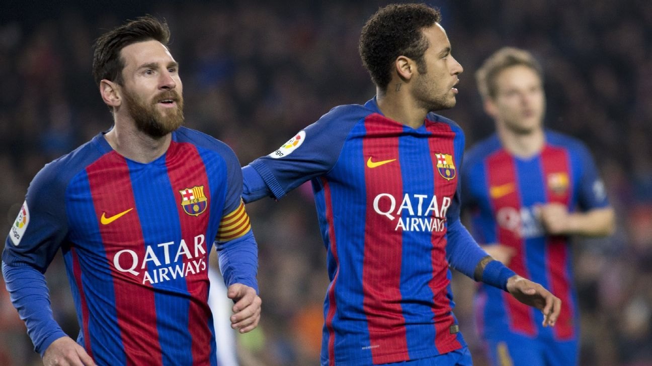 Neymar congratulates Lionel Messi after the Argentine opened the scoring for Barcelona against Leganes.