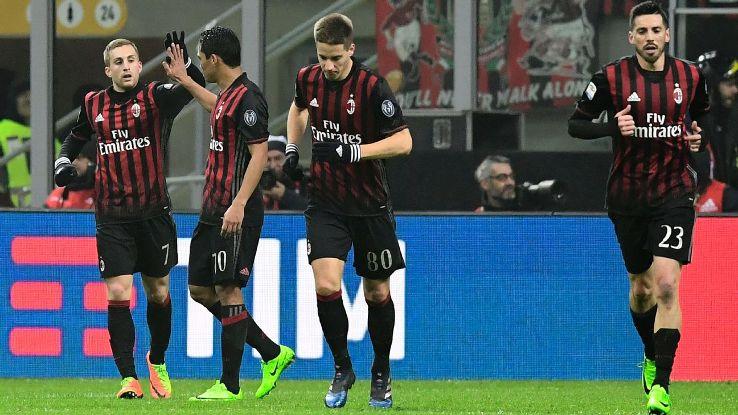 Gerard Deulofeu, far left, celebrates his first league goal for AC Milan.