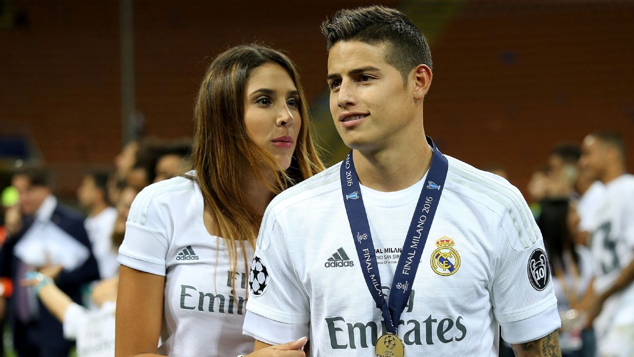 Daniela Ospina and James Rodriguez following Real Madrid's Champions League victory against Atletico Madrid in 2016.