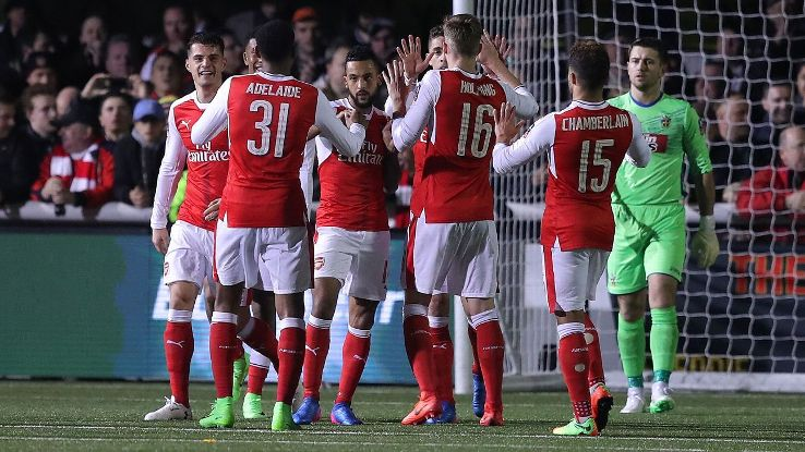 Theo Walcott scored his 100th goal for Arsenal on Monday night.