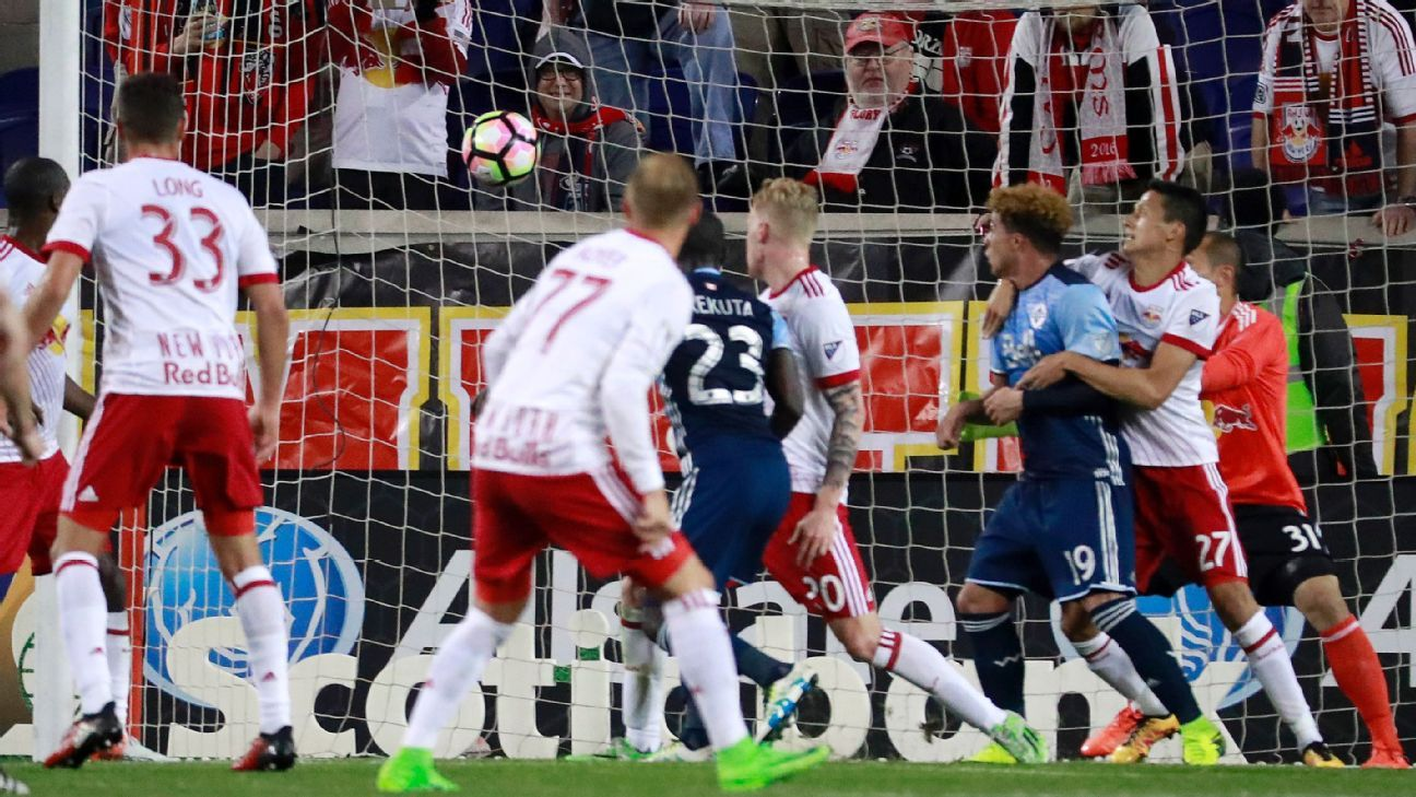 Kekuta Manneh opens the scoring for Vancouver in the first leg of a CCL quarterfinal match against New York.