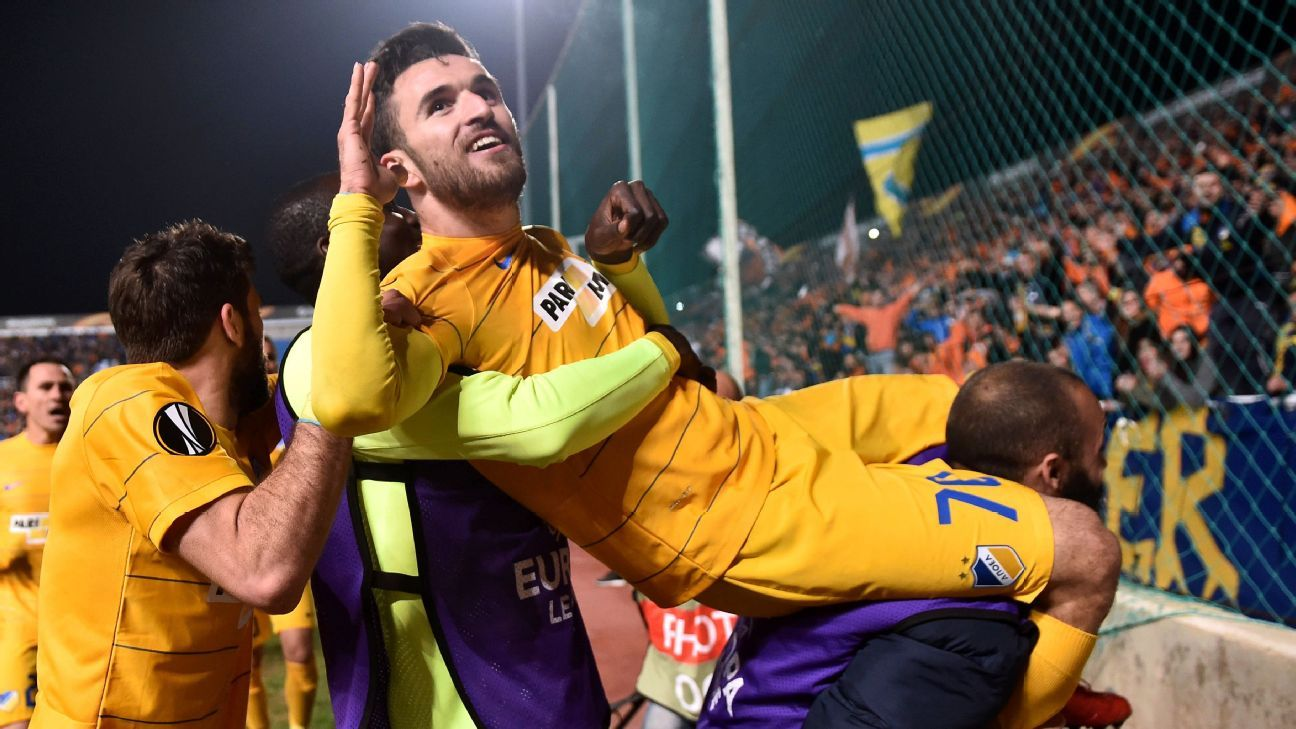 Apoel midfielder Giannis Gianniotas celebrates his goal against Athletic Bilbao on Thursday.