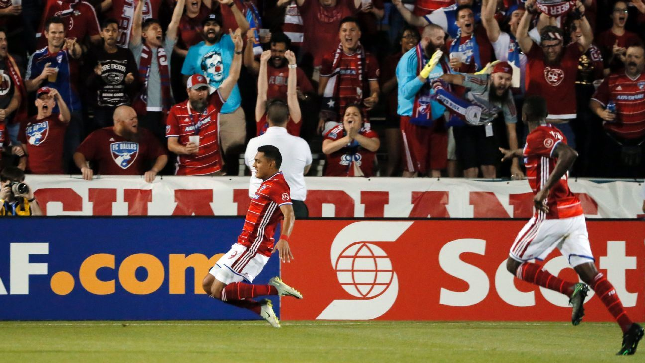 Cristian Colman celebrates after scoring a goal for FC Dallas in a CCL match against Arabe Unido.