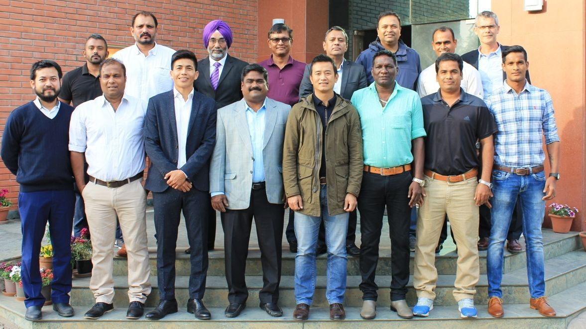 Former India captains and coaches with Richard Hood and other AIFF officials, when they met in New Delhi on February 2.