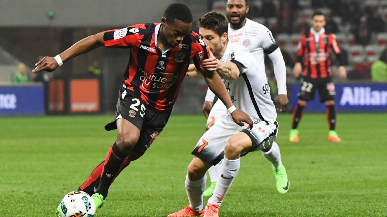 Wylan Cyprien turns the corner on Montpellier's Paul Lasne in Nice's 2-1 Ligue 1 win on Friday.