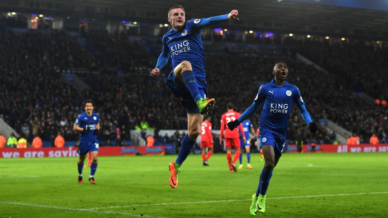 Jamie Vardy and Leicester celebrated their first Premier League win of 2017 on Monday.