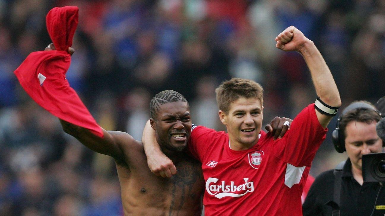 Djibril Cisse and Steven Gerrard