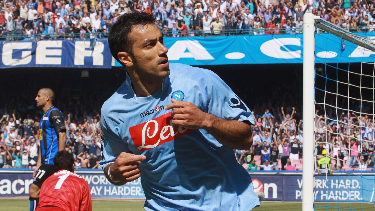 Fabio Quagliarella celebrates after scoring for Napoli against Atalanta in Serie A.