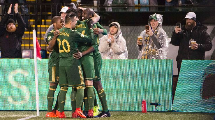 Portland Timbers players celebrate after opening the scoring against Minnesota United on Friday.