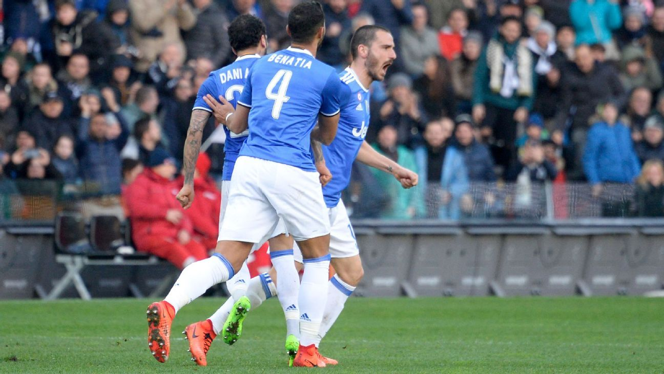 Leonardo Bonucci celebrates his goal for Serie A leaders Juventus against Udinese.