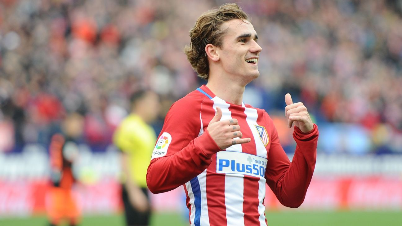 Antoine Griezmann provided two goals in Atleti's home defeat of Valencia.