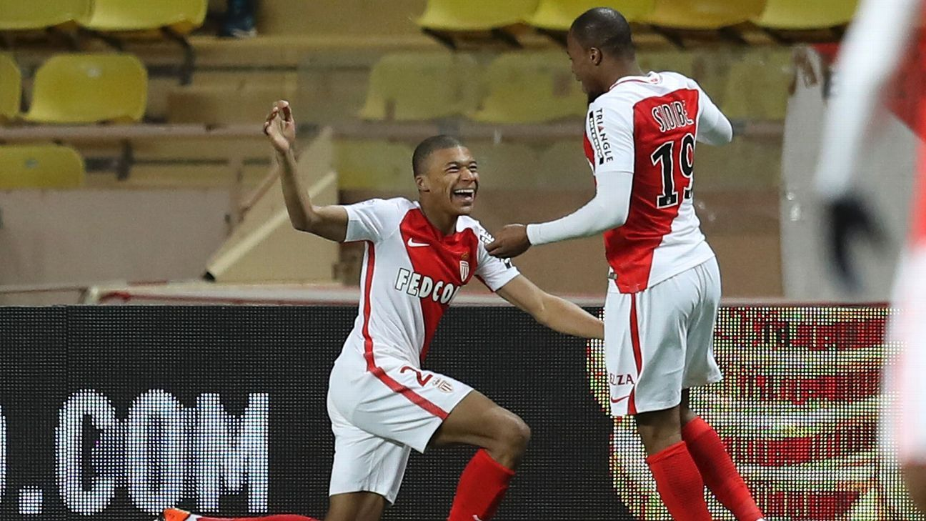 Kylian Mbappe celebrates after scoring a goal against Nantes in Ligue 1 on Sunday.