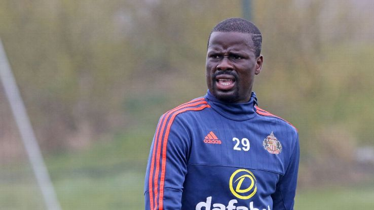 Emmanuel Eboue during a Sunderland training session.