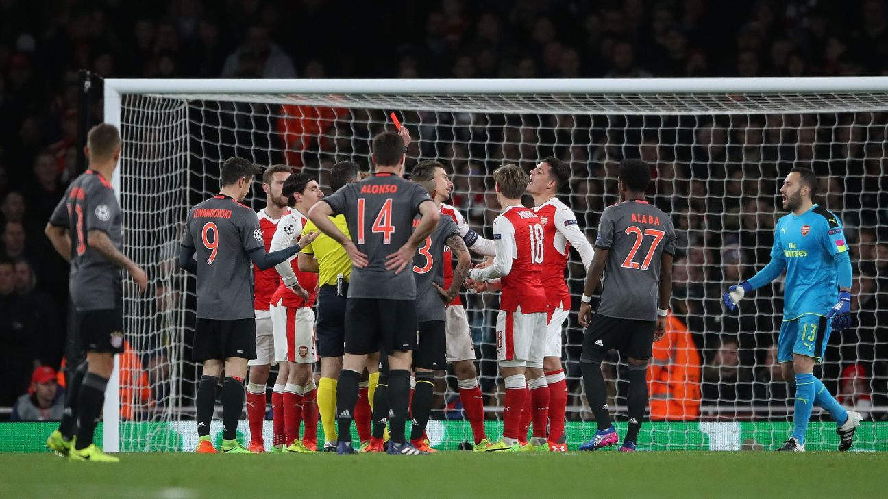 Bayern were able to cruise after Laurent Koscielny was sent off.