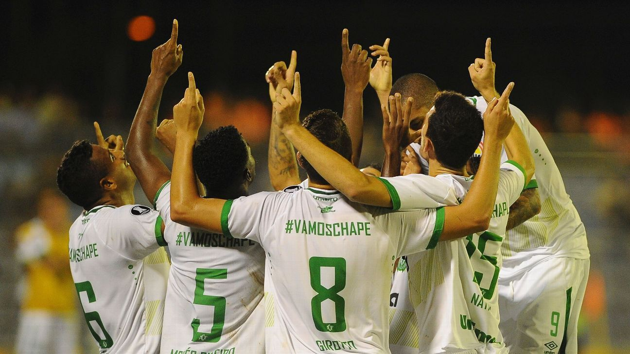 Chapecoense players celebrate Reinaldo's goal in the Copa Libertadores game against Zulia.