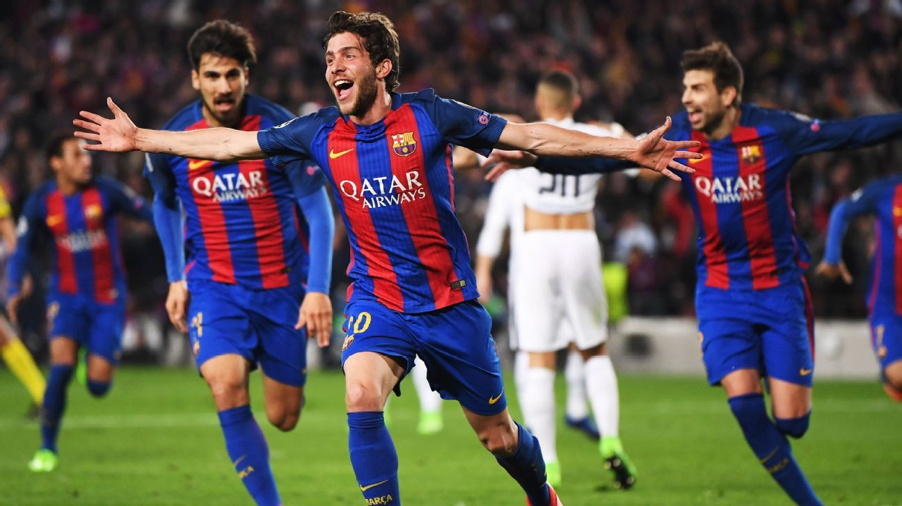 Sergi Roberto celebrates scoring for Barcelona against PSG.