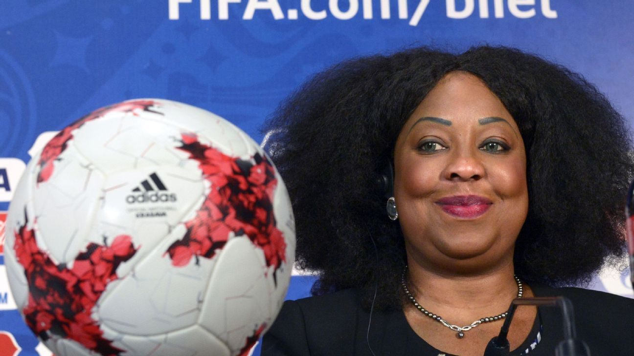 Fatma Samoura during a press conference marking 100 days until the start of the FIFA Confederations Cup 2017.