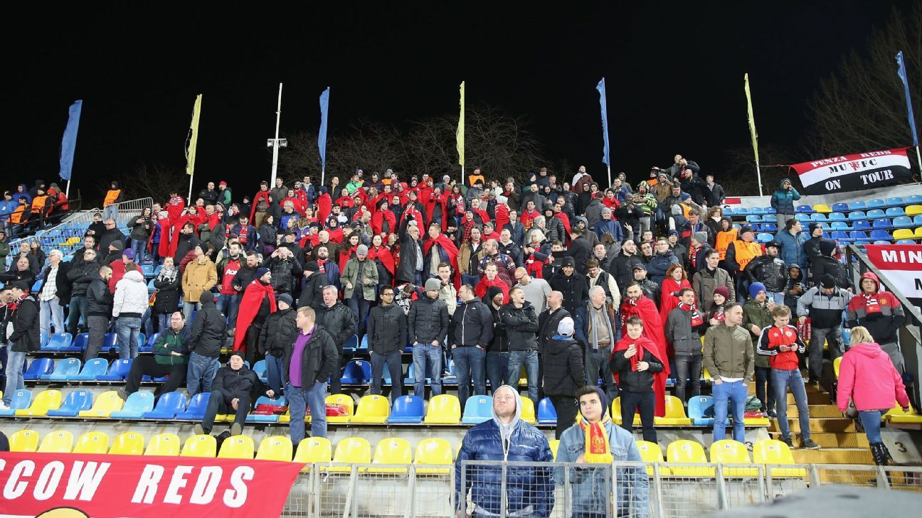 Manchester United fans during a 2016 game in Rostov.