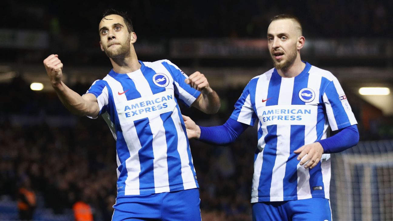 Sam Baldock of Brighton and Hove Albion celebrates after scoring a goal in a 3-0 Championship win against Derby.