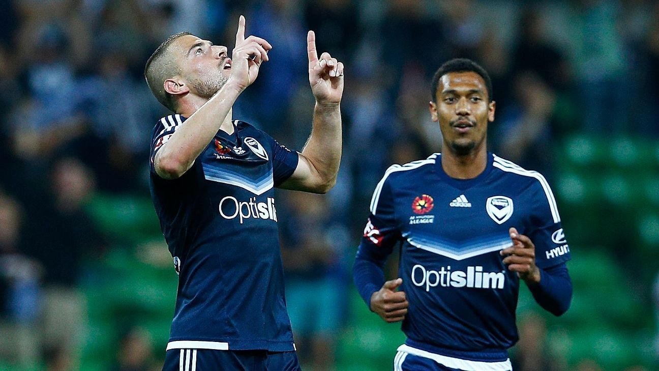 James Troisi celebrates scoring for Melbourne Victory.