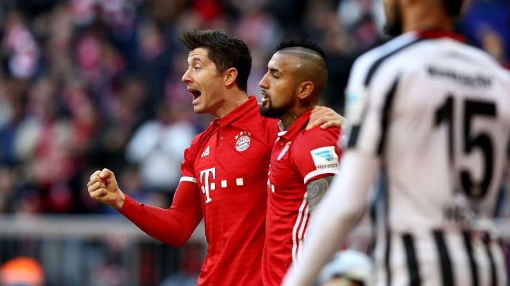 Robert Lewandowski guided Bayern to a win on Saturday.