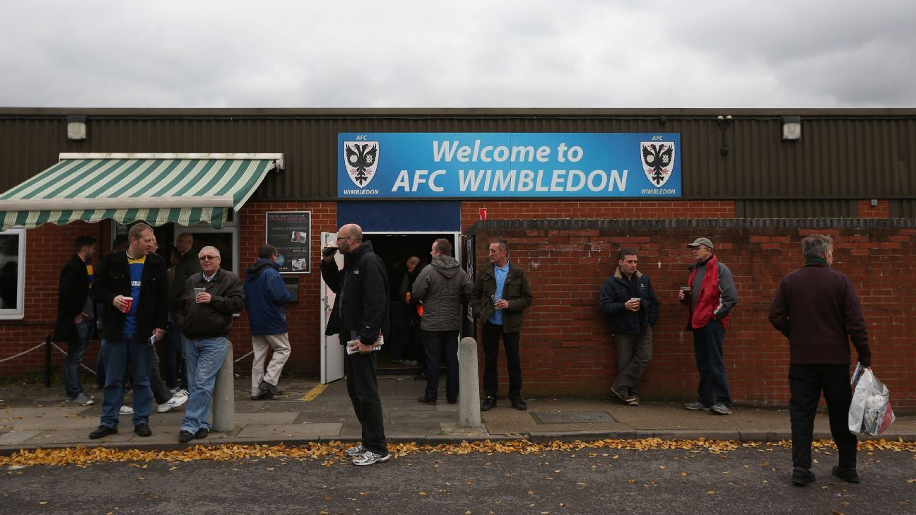 AFC Wimbledon supporters ahead of their League Two fixture against Aldershot.