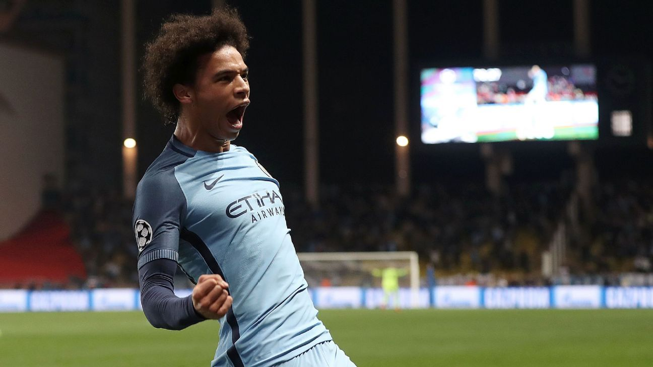 Leroy Sane scored as Manchester City advanced to the Champions League quarterfinals on Wednesday.