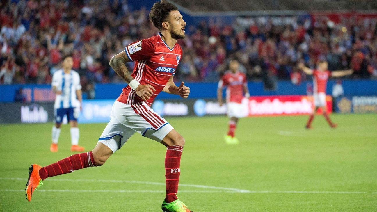 Max Urruti celebrates after scoring a goal for FC Dallas in the CONCACAF Champions League.