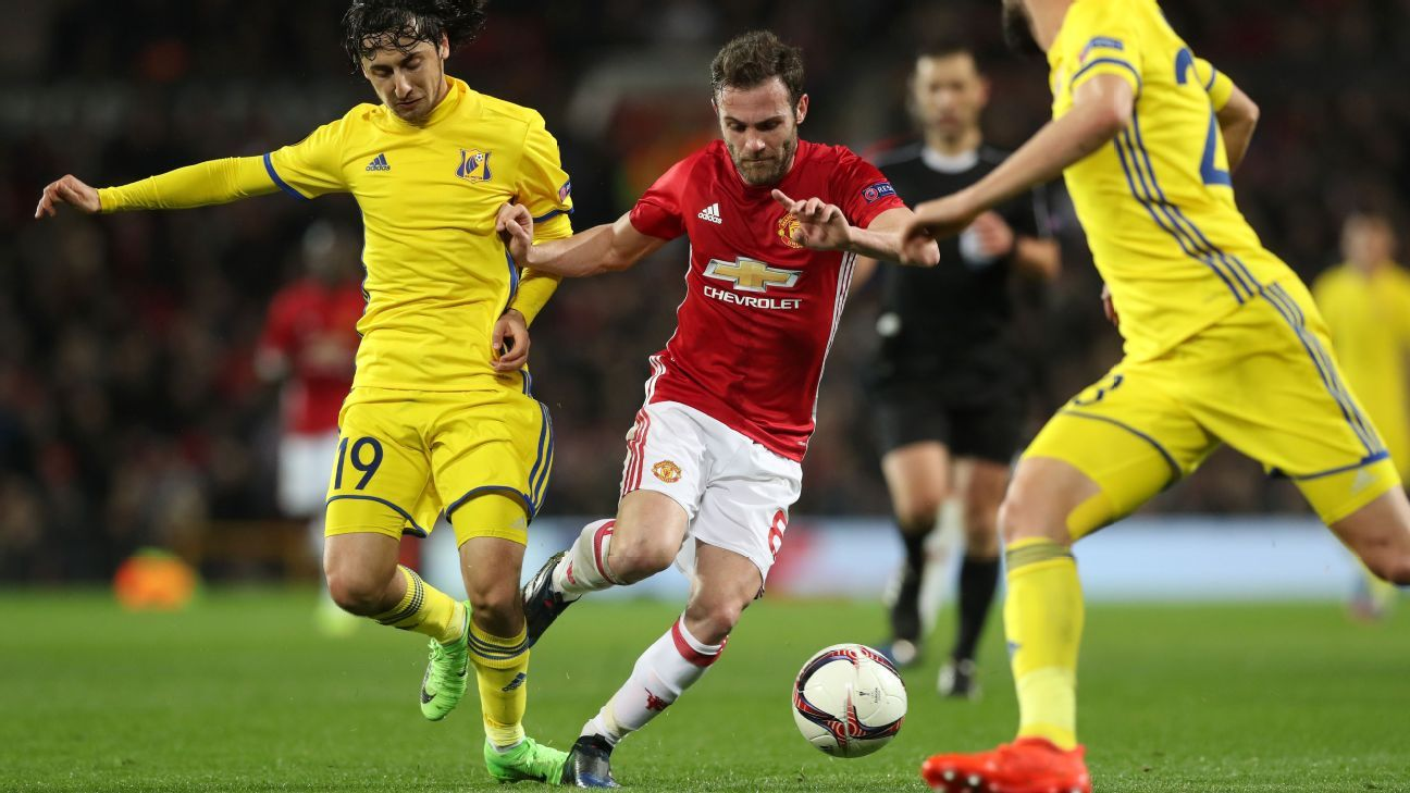 Juan Mata helped Manchester United move into the last eight of the Europa League.