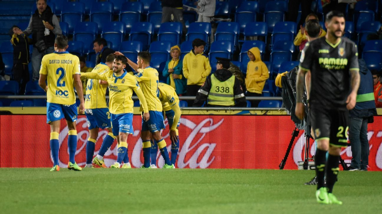 Las Palmas players celebrate after scoring against Villarreal.