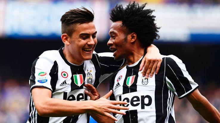 Juan Cuadrado celebrates his winner in Juventus' 1-0 victory over Sampdoria.