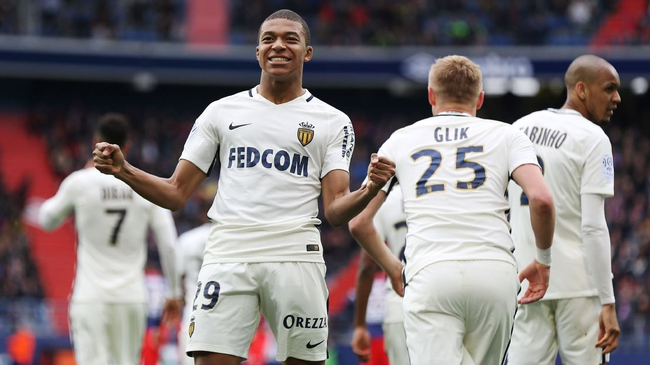 Kylian Mbappe celebrates after scoring against Caen.